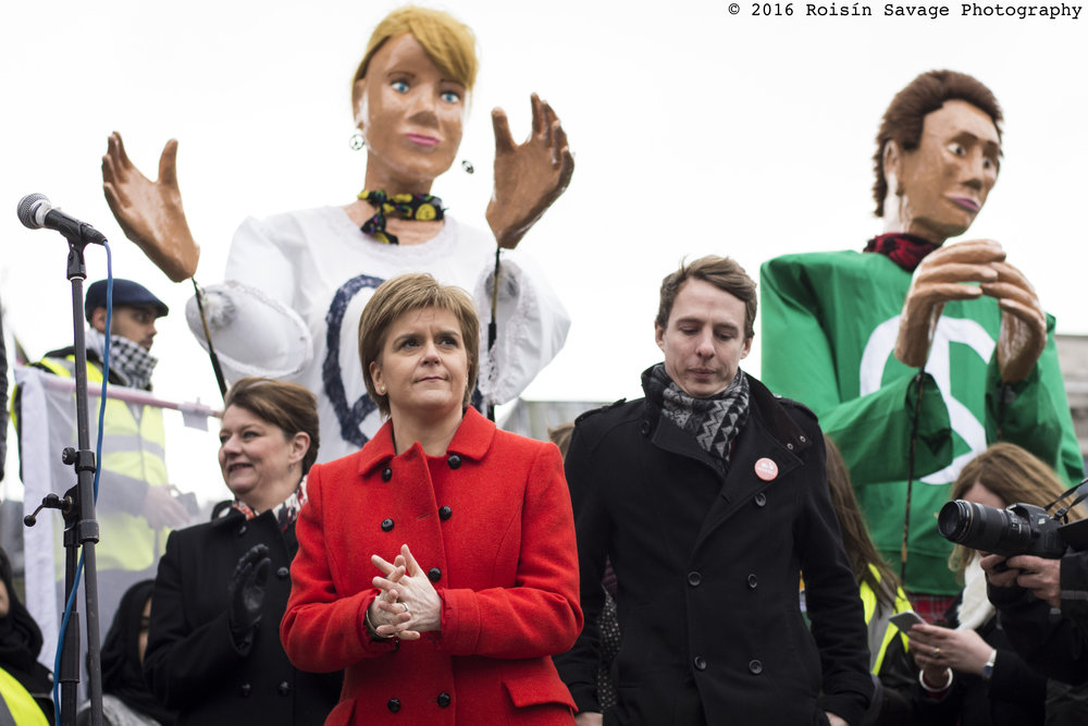 Nicola Sturgeon, the First Minister of Scotland and the leader of the Scottish National Party, on stage at the Stop Trident demonstration prior to her speech.