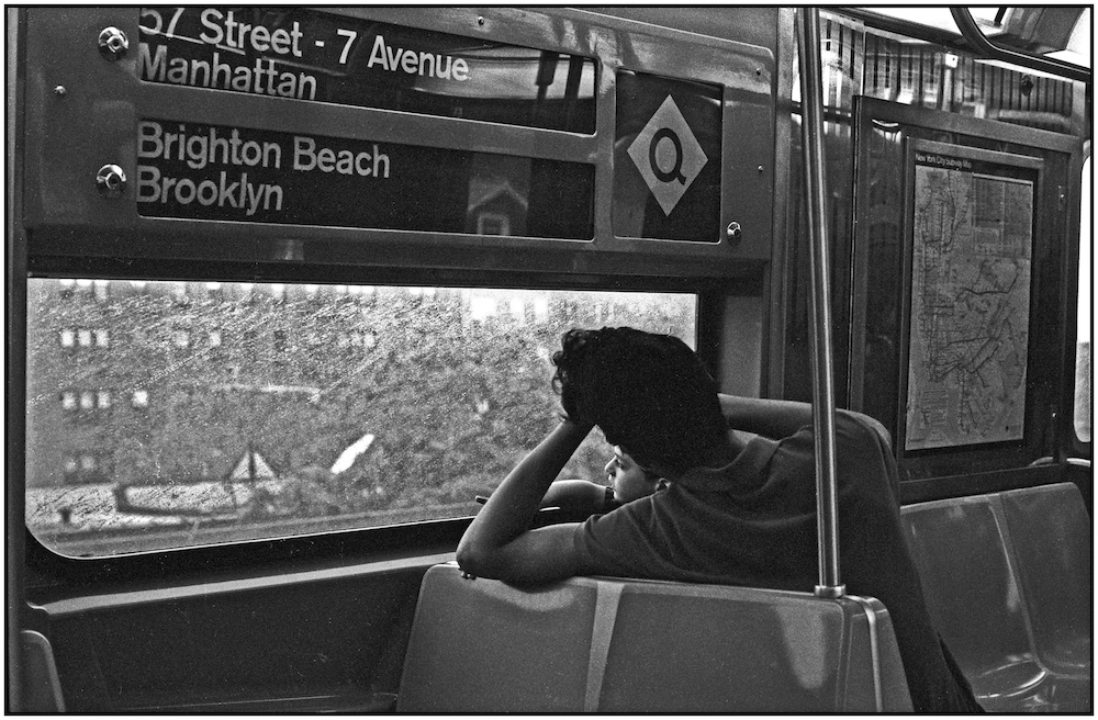 On the New York City MTA elevated Q subway train to Brighton Beach. August 30, 1987