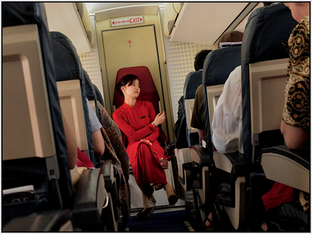 Flight Attendant on a Vietnam Airways domestic flight, March 2015. #0311