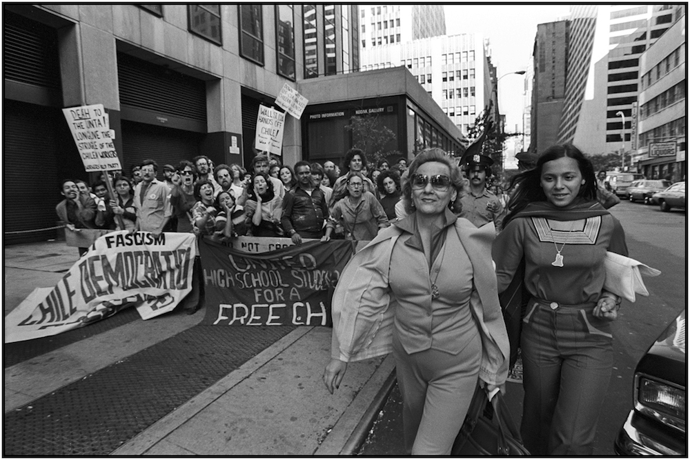 Demonstrators Jeer Chilean Town Hall Attendees, NYC, 1977.