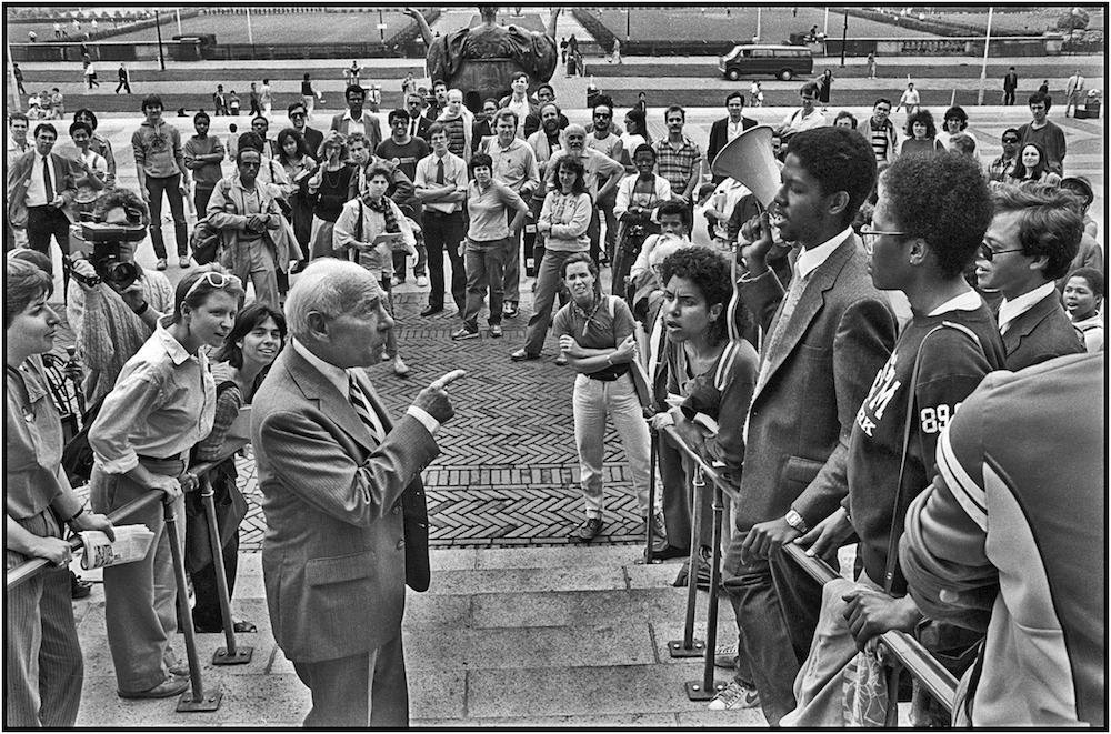 Columbia U.Trustee Lectures Anti-Apartheid   Demonstrators, May 6, 1985.