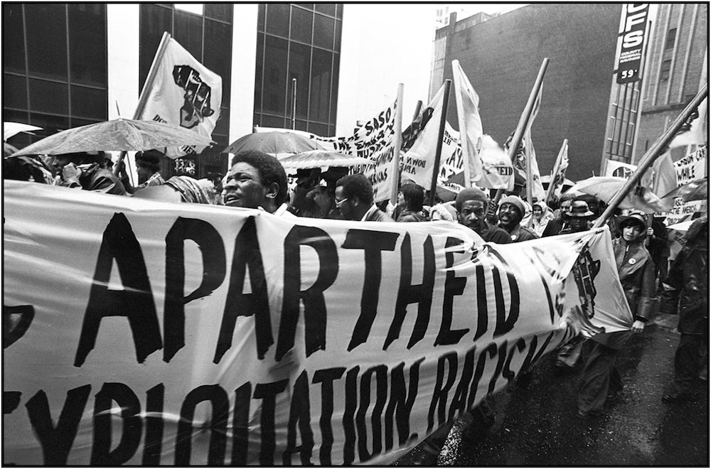 Anti-Apartheid March, Herald Sq., NYC, May 1,   1977.