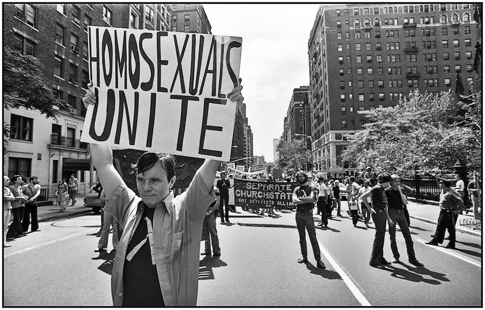 """""""Homosexuals Unite,"""" NYC, 1977."""