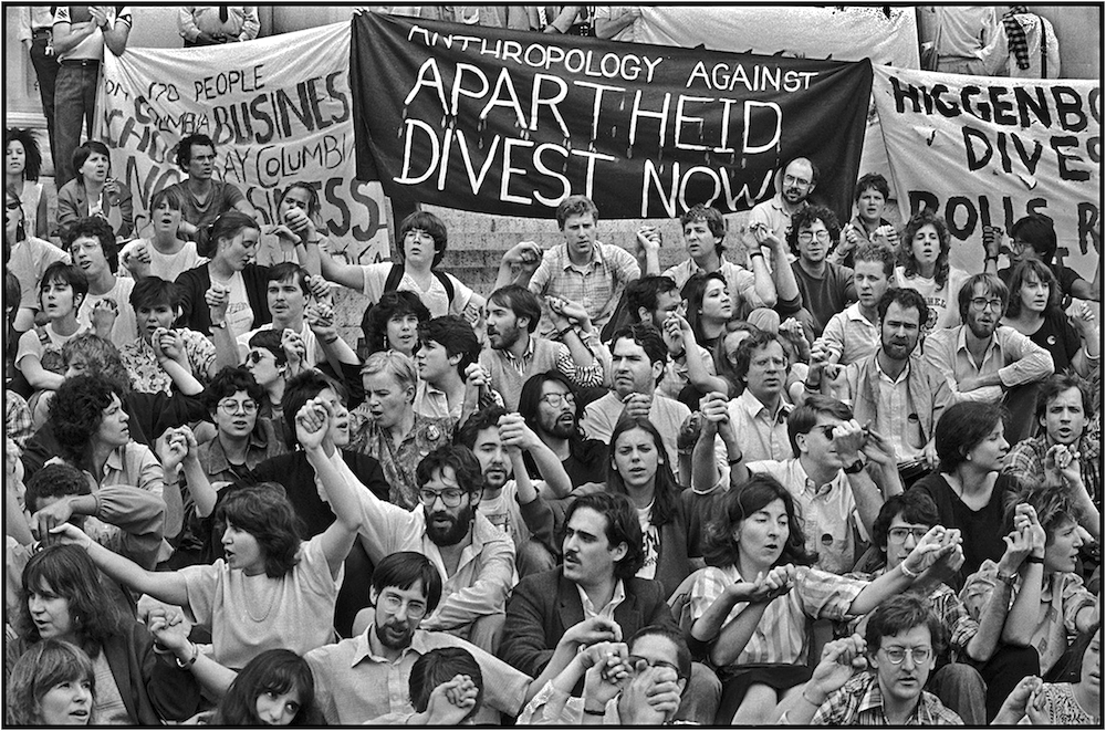 Anti-Apartheid Rally, Columbia U., NYC, May 6, 1985.