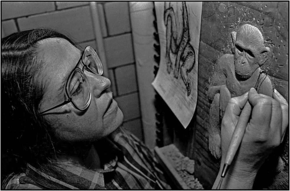 Joyce Cloughly of the Museum of Natural History works on her sculpture for display in the Hall of Human Biology, Manhattan. 1993