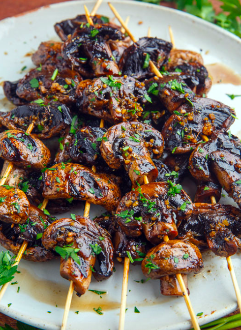 Balsamic Garlic Grilled Mushrooms