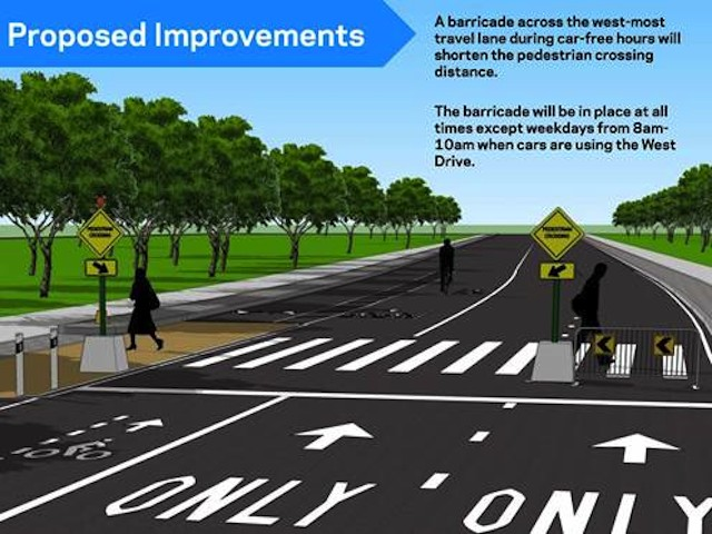 DOT West Drive Barricade Rendering