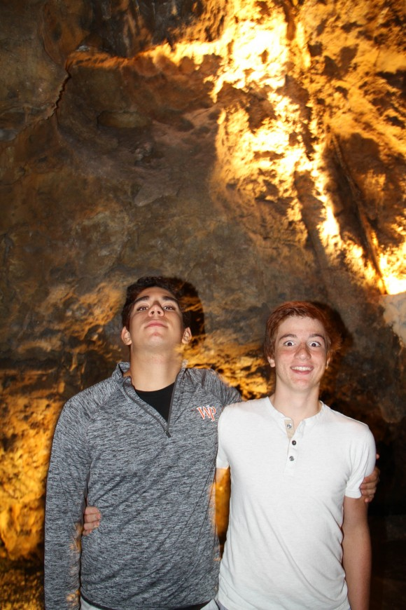 Kaan and Andrew cool off post race in the crystal caves