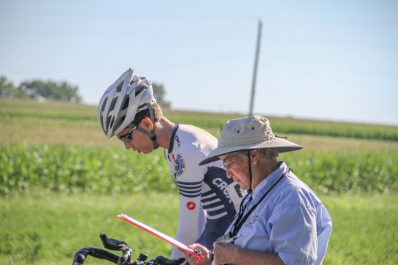 Justin checks in with the official for the time trial