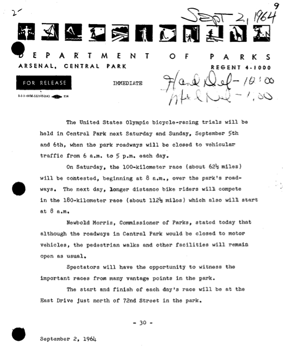 1964 NYC Parks Press Release