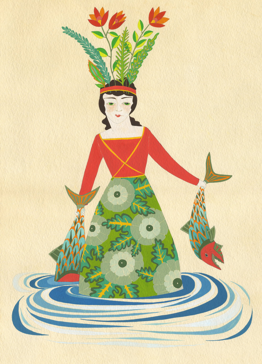 Fishwife . 2014 . Gouache on tea-stained paper.