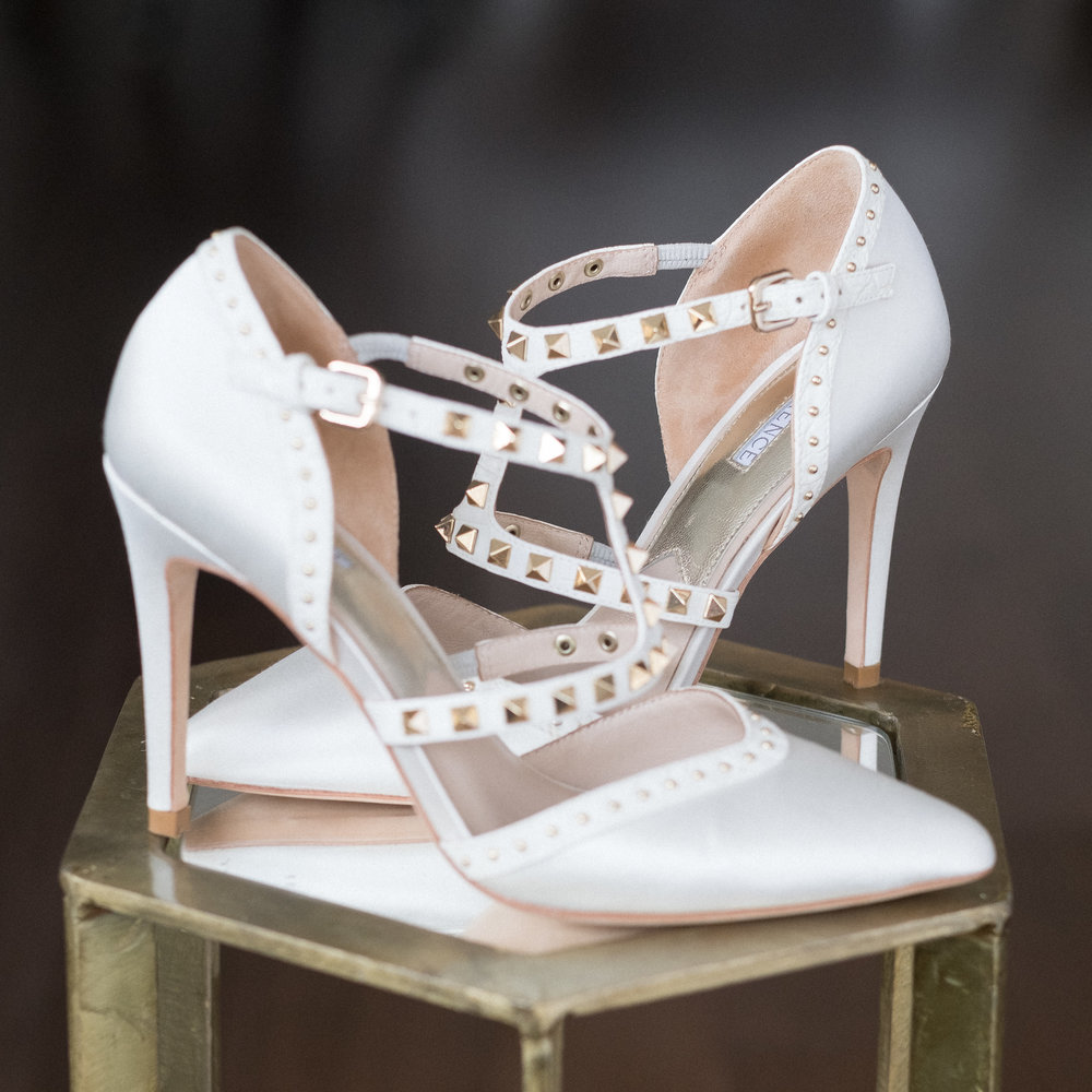 The perfectly studded silk satin 'Sarah' shoe by  I Am Florence .