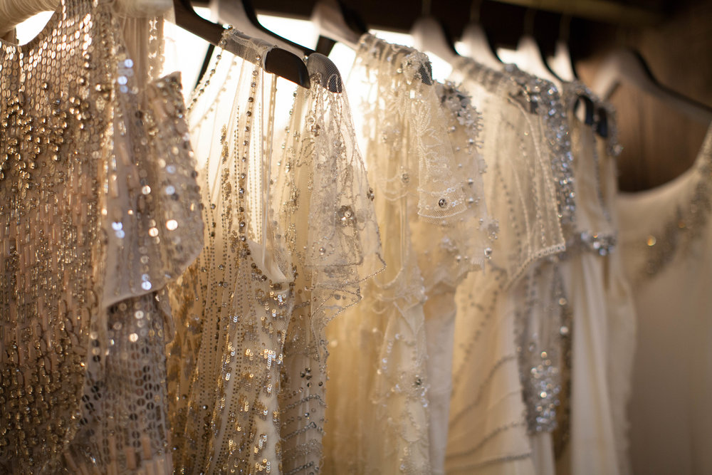 An array of Jenny Packham gowns from both the 2017 and 2018 collection.