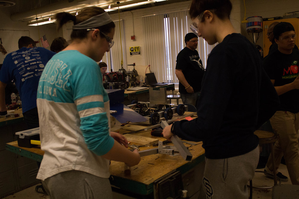 Fabrication members working on the prototype for our gear mechanism