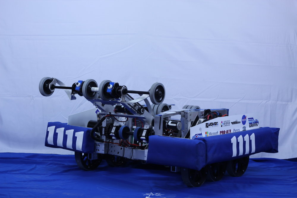 Griffin, designed for the 2016 game Stronghold, used it's sturdy front arm and powerful launching mechanism to rise above the competition. Speed and maneuverability were crucial design features that allowed Griffin to be competitive, while still allowing it to be a fierce ally. Griffin won second place alliance at its second regional competition before moving onto the state competition. On the back of the Engineering Inspiration Award, the Power Hawks Robotics Team won the Team Spirit award with the valiant cheer heard every time Griffin entered the field.