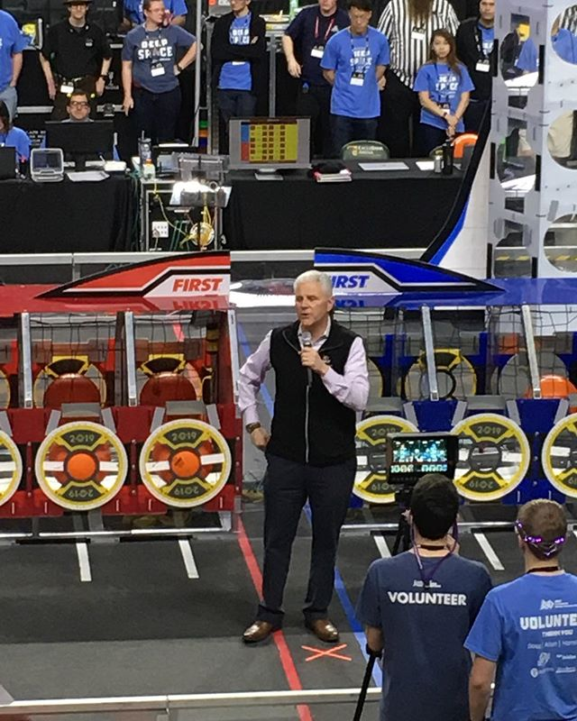 What an honor it was to meet and speak to FIRSTs very own president, Mr. Bossi! Had an amazing time in day two of district champs, and looking forward to the rest of the matches and awards to come tomorrow! #first #omgrobots #family #spirit #team #robotics #president #meet #powerhawks