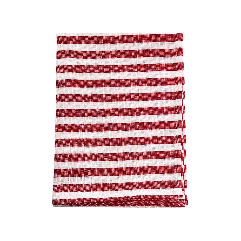 Red-and-White-Stripe Linen Kitchen Cloth