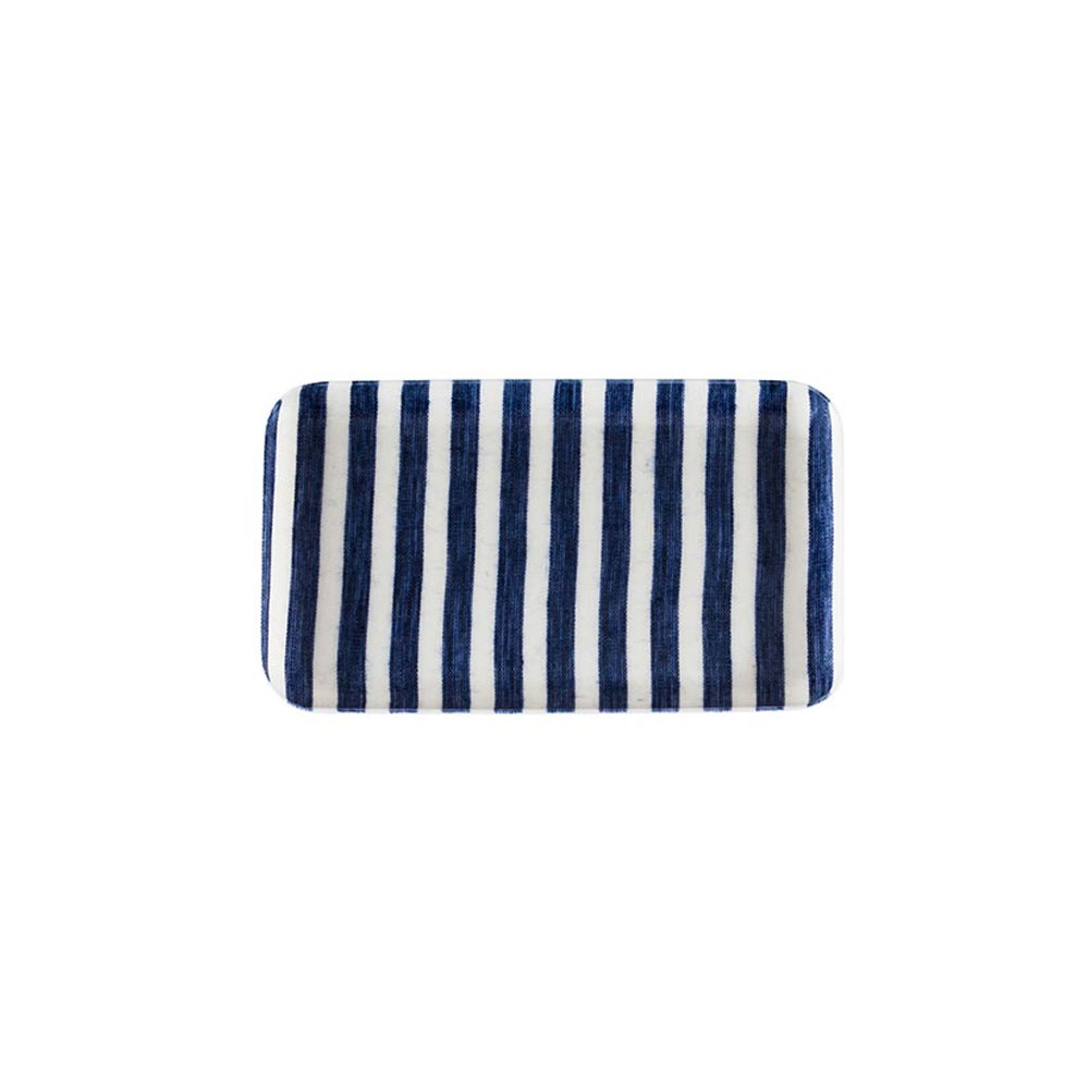 Small White-and-Blue-Stripe Linen Coated Tray