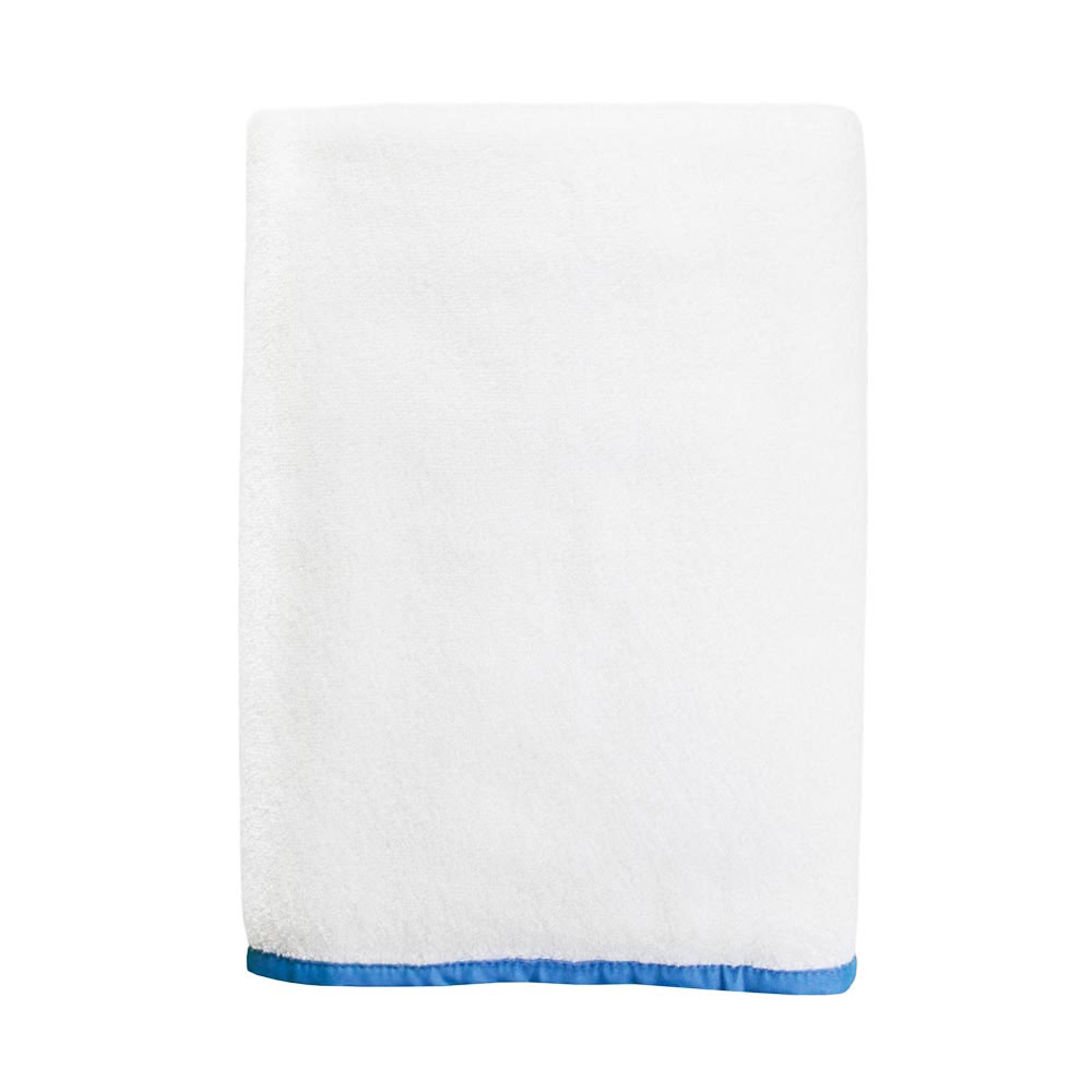 Signature Banded White and French Blue Bath Towel