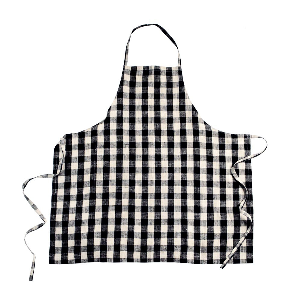Black-and-Natural-Check Daily Linen Apron
