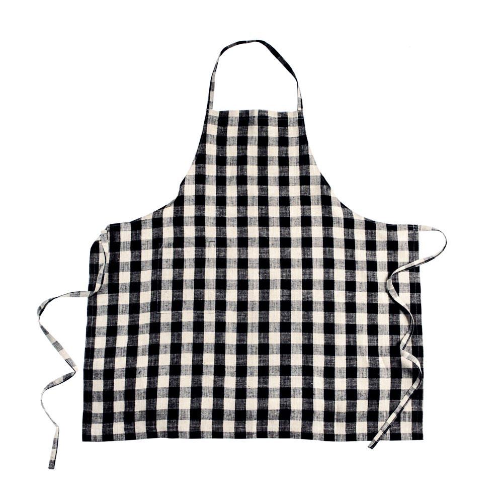 Black-and-Natural-Check Daily Linen Apron