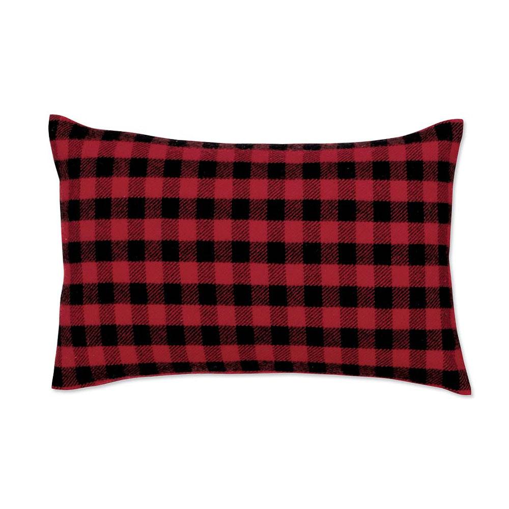 Red-and-Black Mini-Buffalo-Check Lumbar Pillow Case