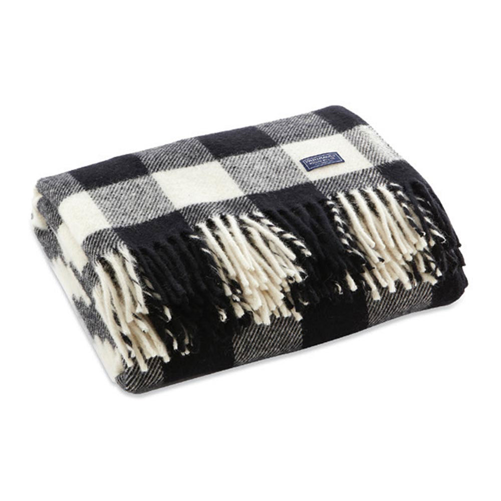 White-and-Black Buffalo Check Throw