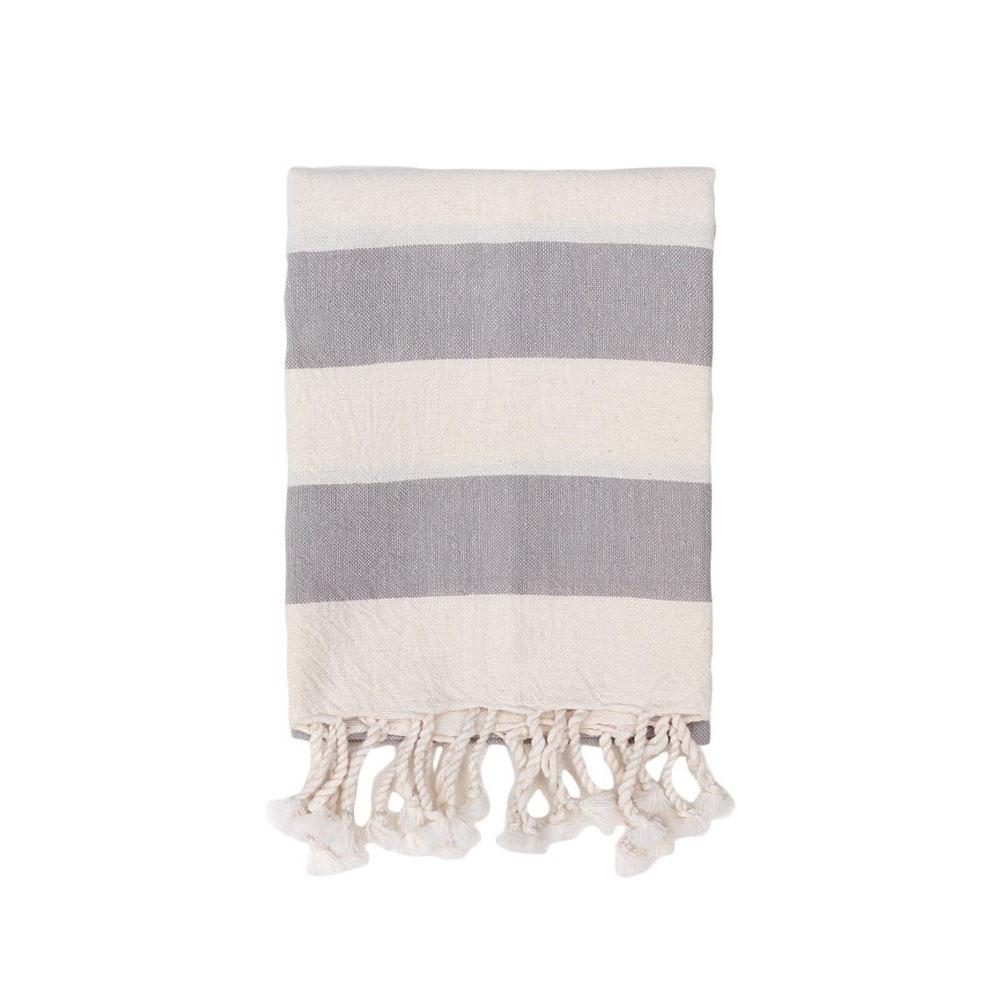 Gray Striped Hand Towel