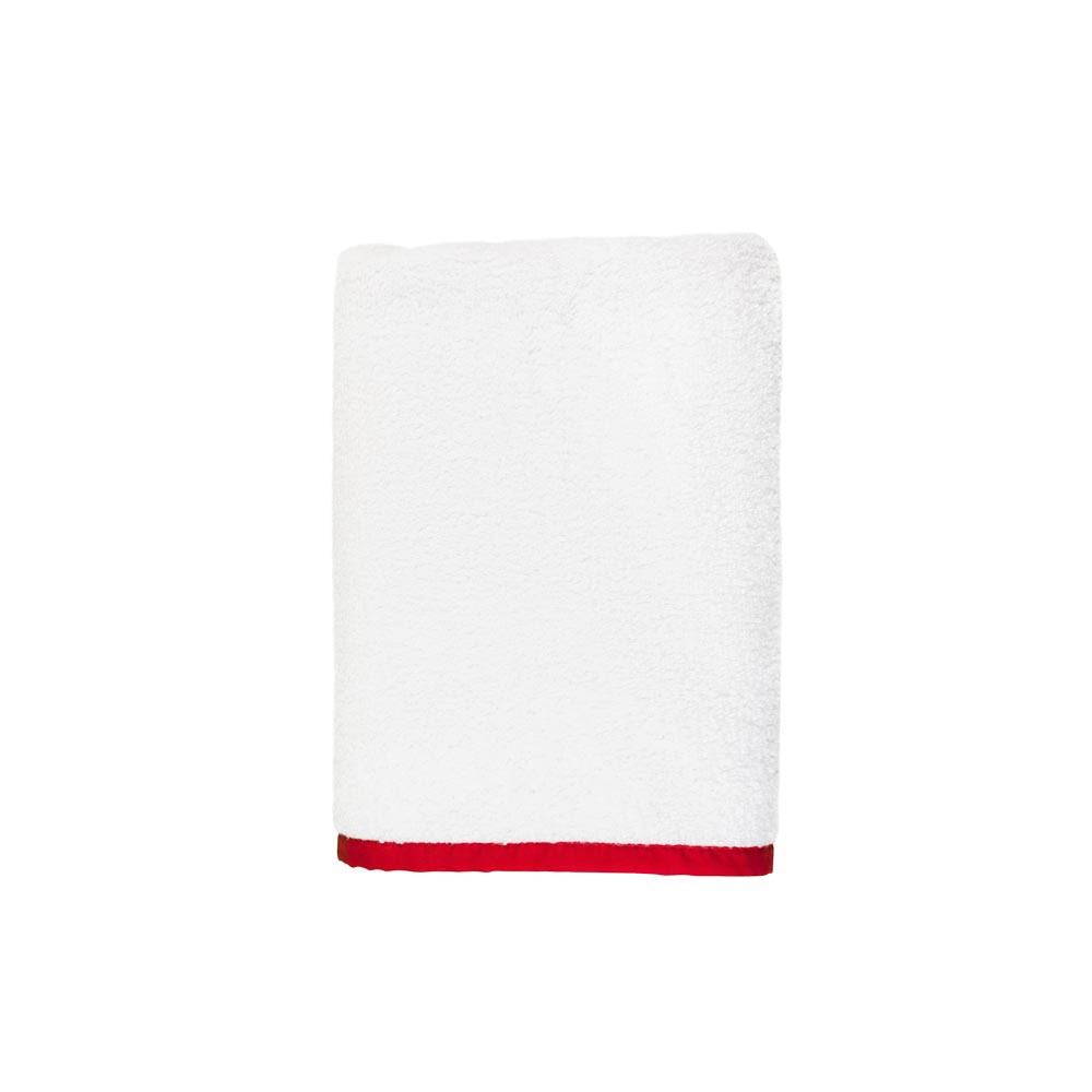 Signature Banded White and Red Hand Towel