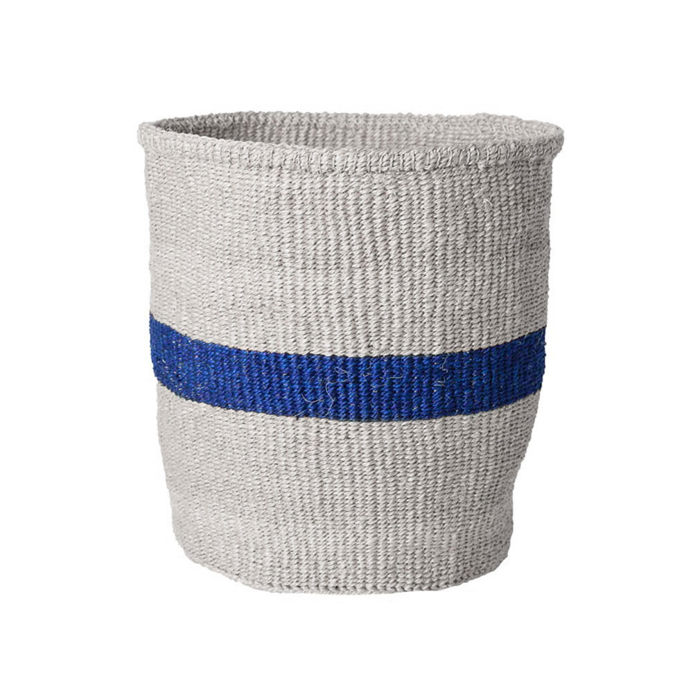 Medium Blue Striped Basket
