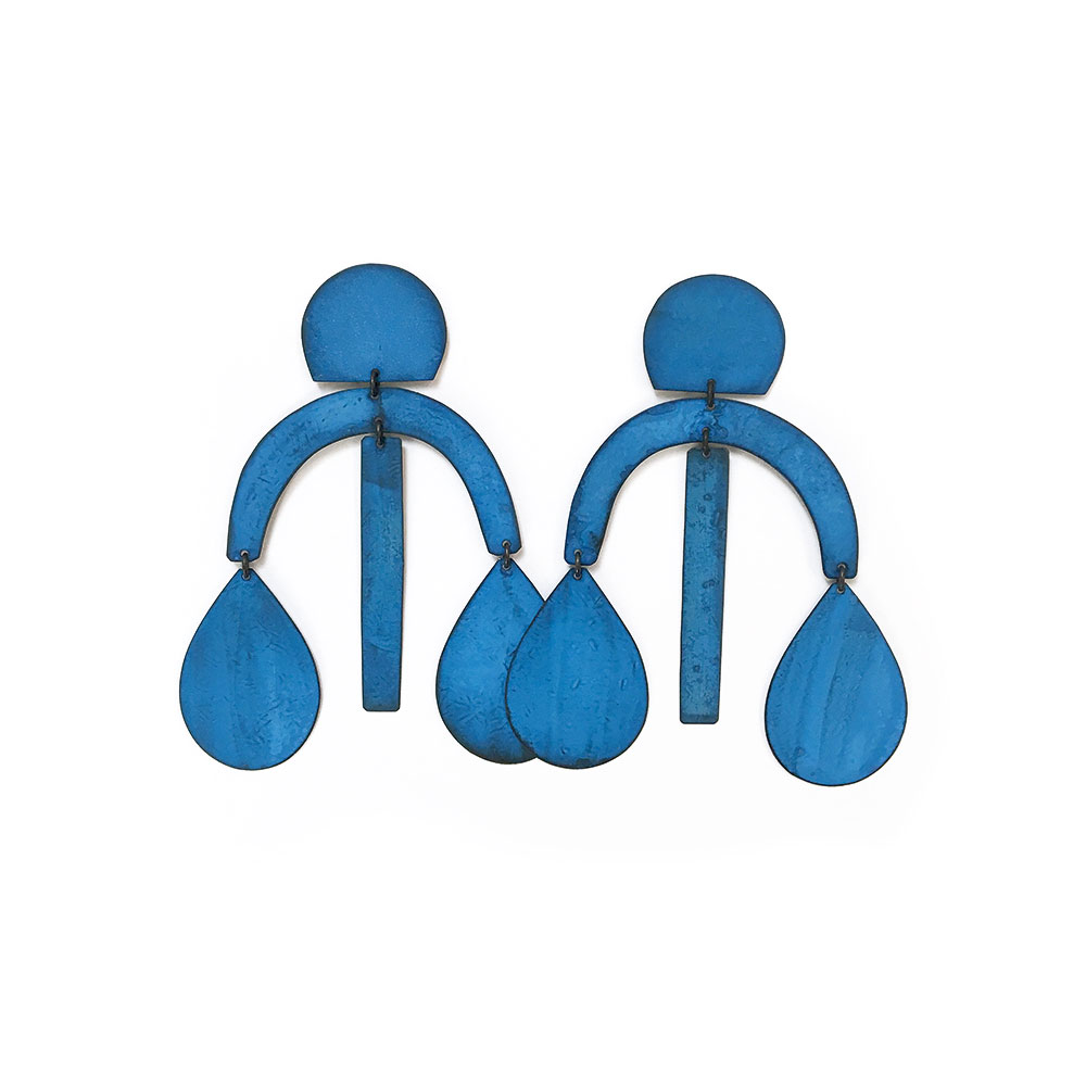Arc Drop Earrings in Blue Oxide Finish