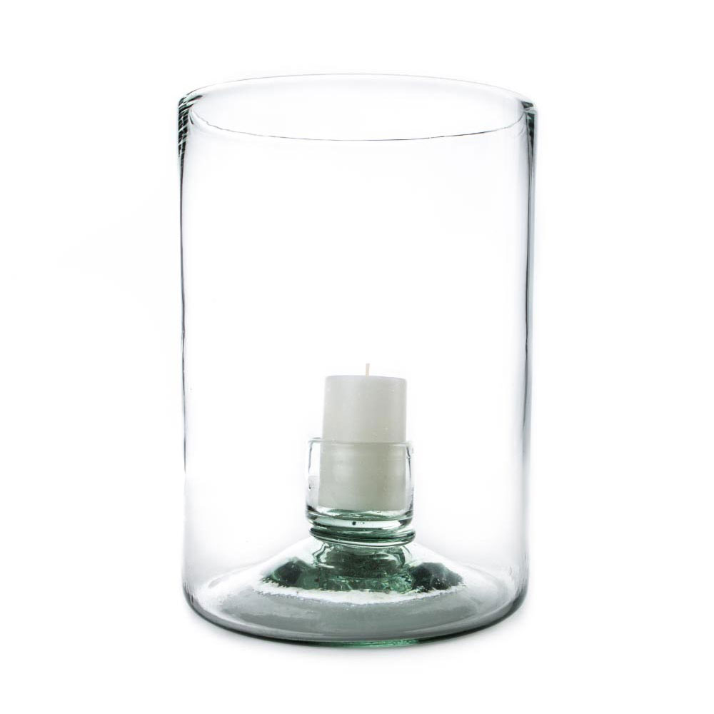 Lucia Recycled-Glass Hurricane with Cup