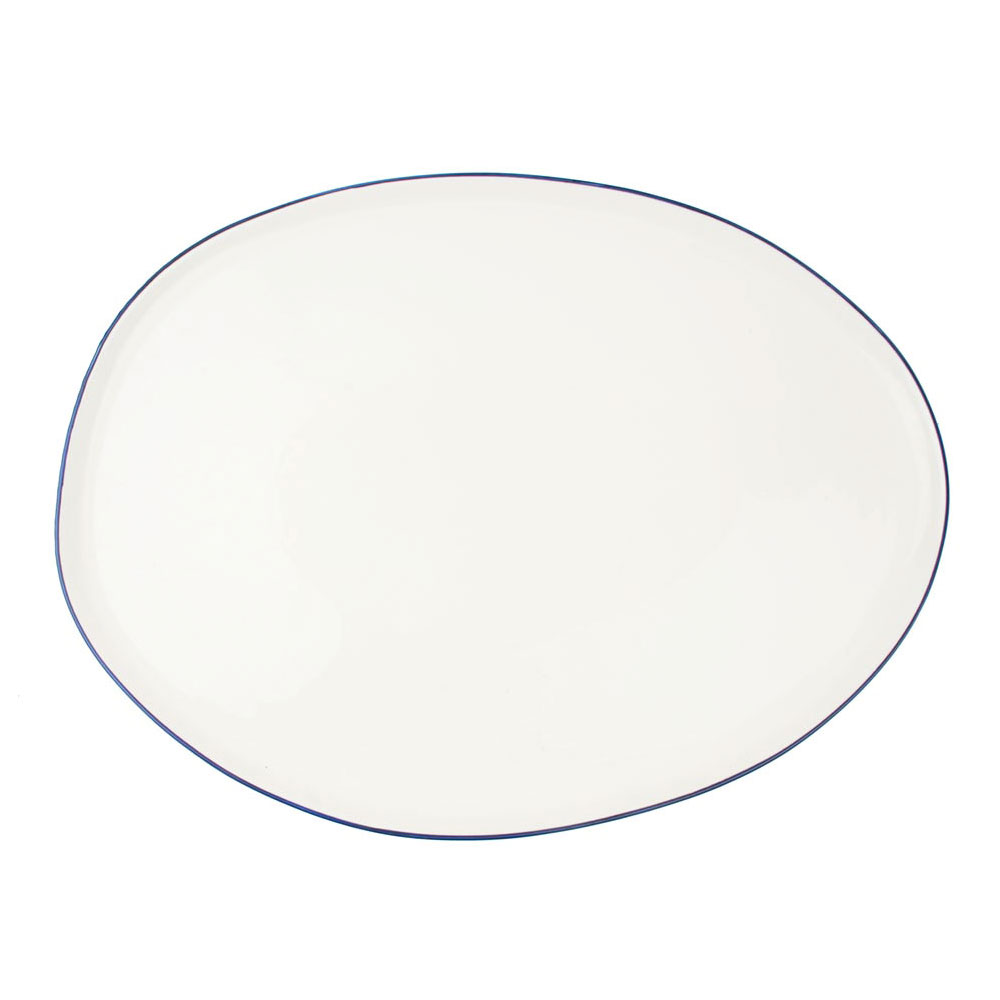Abbesses Large Platter with Blue Rim