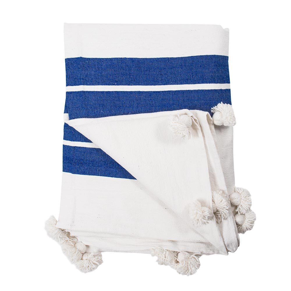 Blue Kesh Stripe Throw