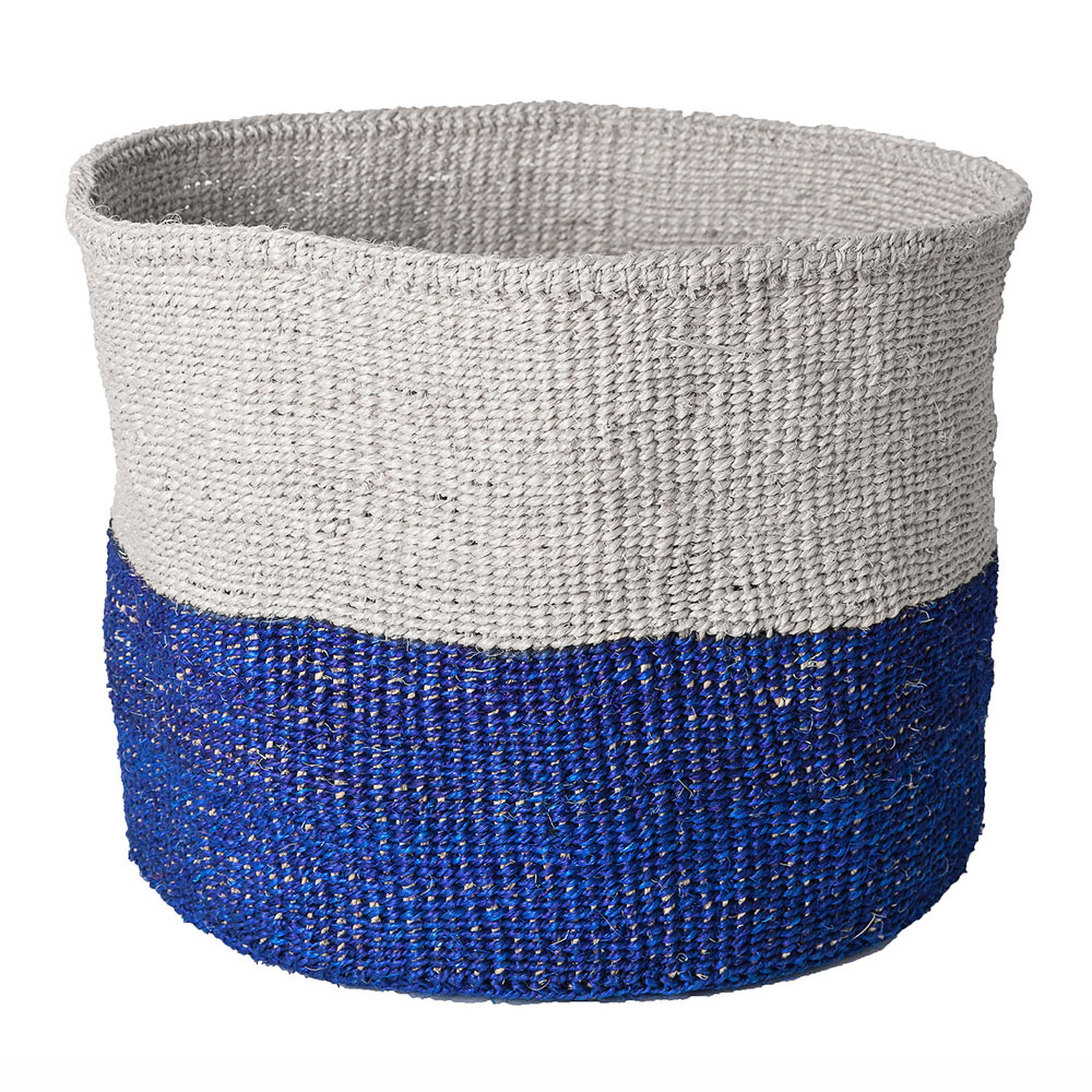 Large Blue Color-Block Basket