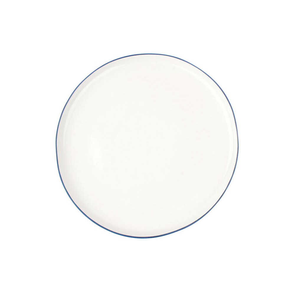 Abbesses Large Plate with Blue Rim