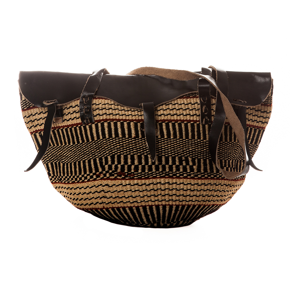 Woven Messenger with Black Leather