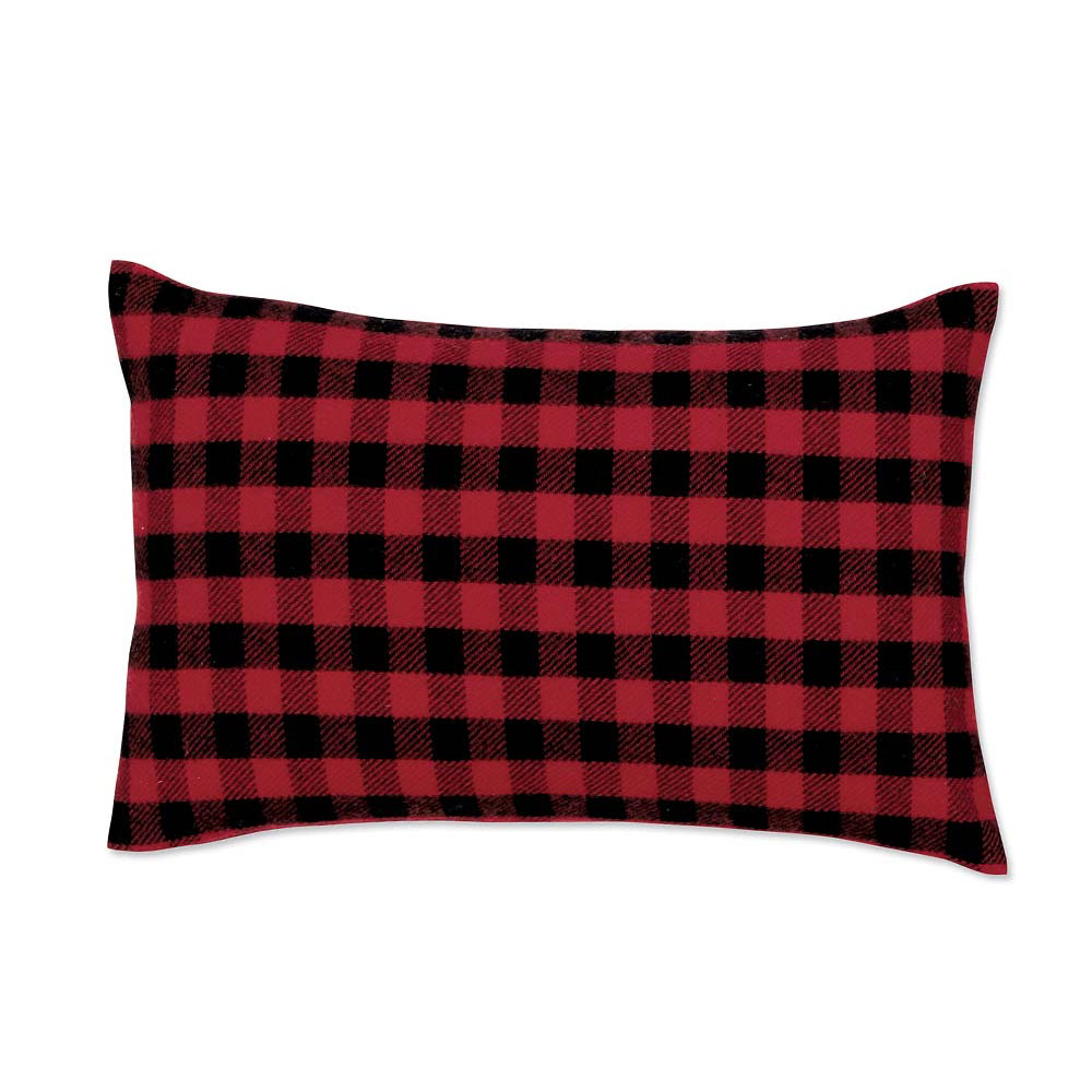 Red-and-Black Mini-Buffalo-Check Lumbar Pillow Case