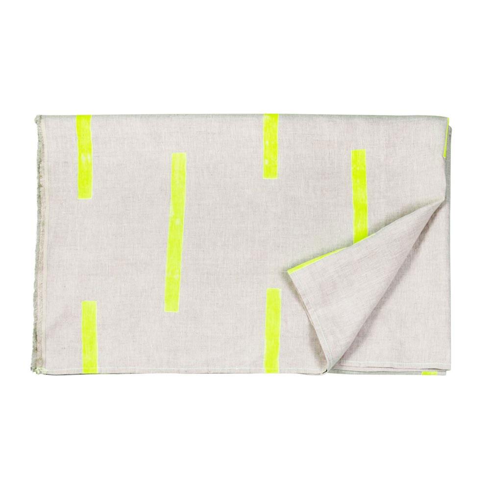 Crane Natural Linen Yellow Dashes Throw