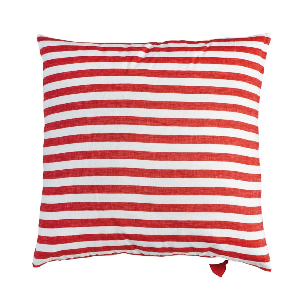 Red Sur la Mer Throw Pillow