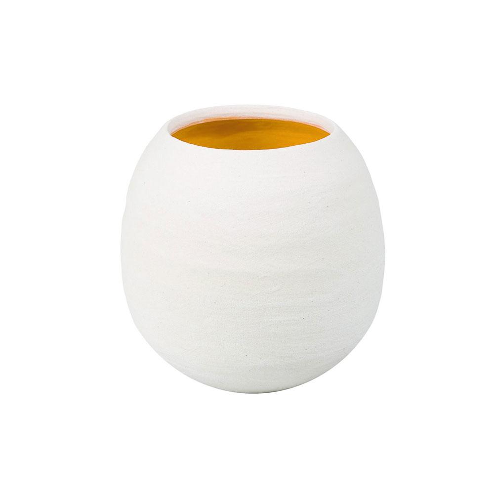 Dino White Matte Vase with Yellow Interior