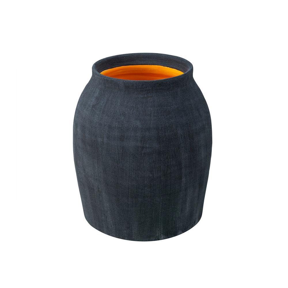 Coal Blue Matte Jar with Cantaloupe Yellow Interior