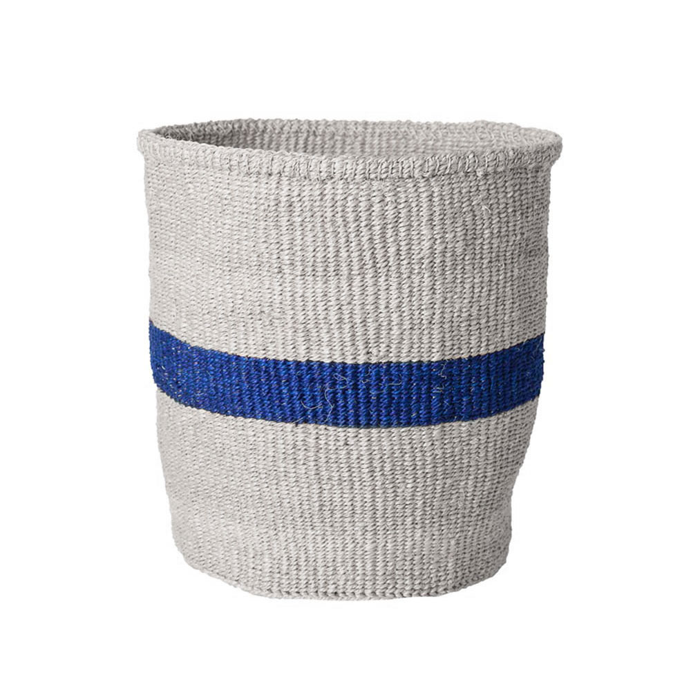 Medium Blue Striped Basket