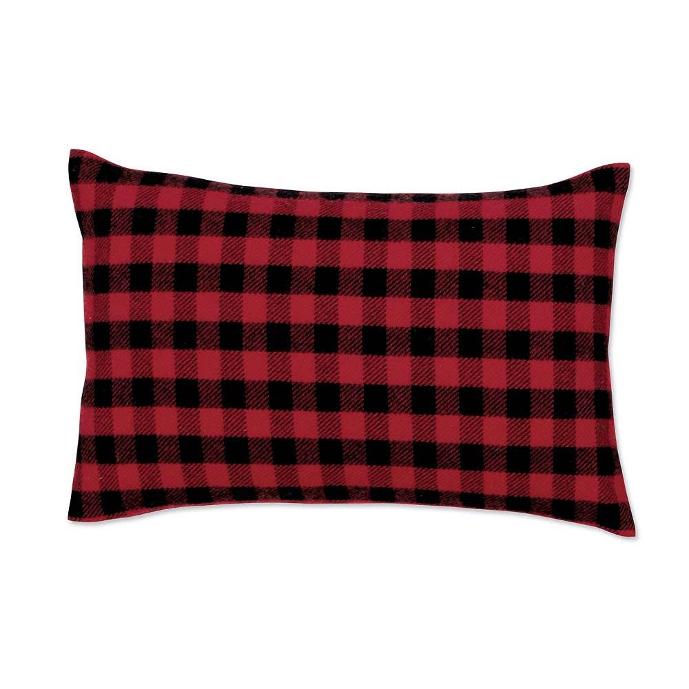 Red-and-Black Mini Buffalo Check Lumbar Pillow Case