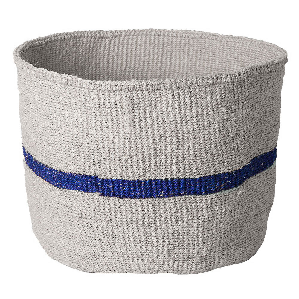 Large Blue Striped Basket