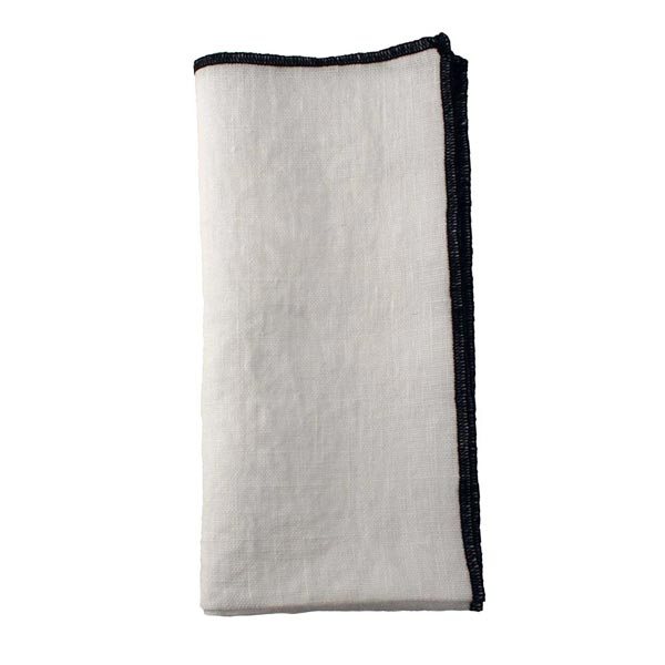 White with Black Stitched-Edge Linen Napkin