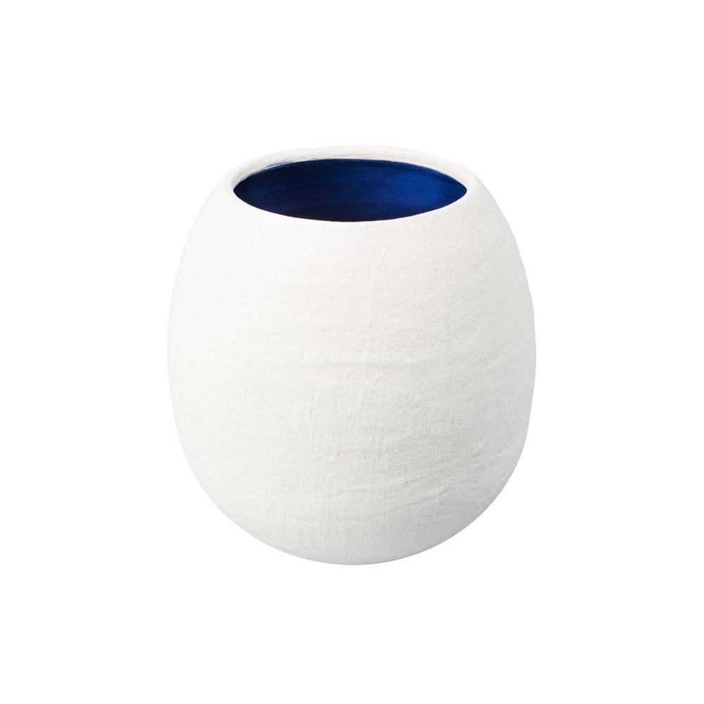 Dino White Matte Vase with Blue Interior