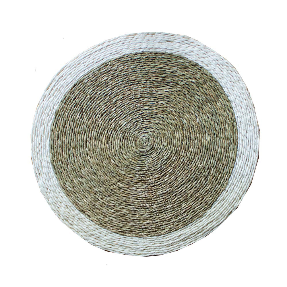 Large Round White Trim Place Mat