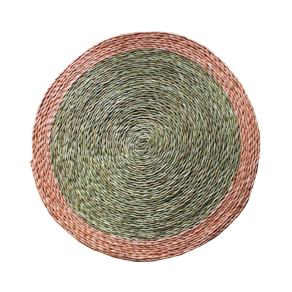 Large Round Blush Trim Place Mat