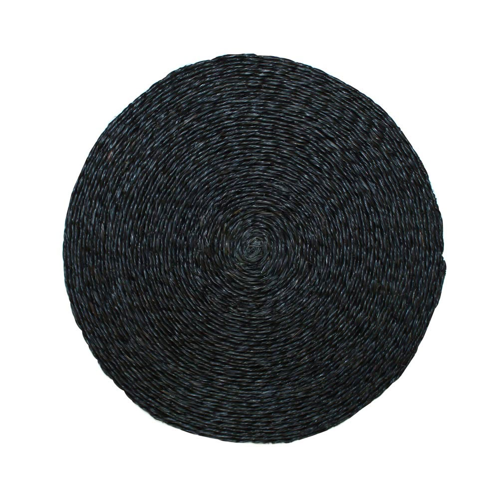 Large Round Black Place Mat